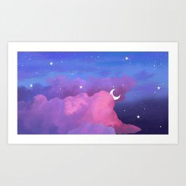 Aesthetic Pink and Purple Clouds with Stars Art Print
