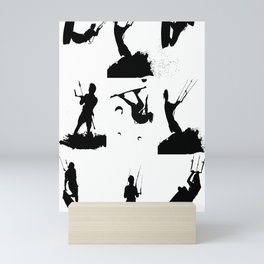 Wakeboarder Silhouette Collage Mini Art Print