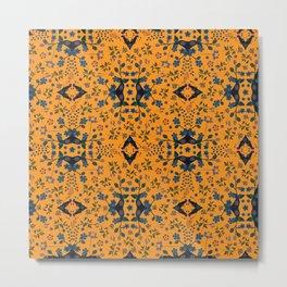 Blue orange flowers Metal Print