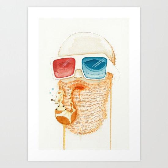 Old Man Smoking Giraffe Pipe in 3D Art Print