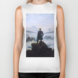 "Caspar David Friedrich ""Wanderer above the sea of fog"" Biker Tank"