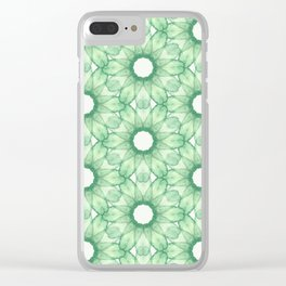 Green Cucumbers Floral Pattern Clear iPhone Case