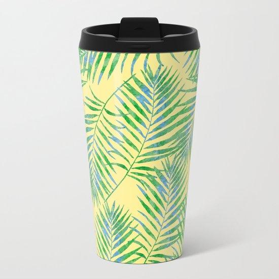 Fern Leaves Yellow Metal Travel Mug