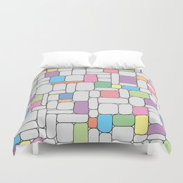 Pastel Stone Wall Duvet Cover
