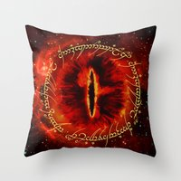gondor Throw Pillows featuring Sauron The Dark Lord by neutrone