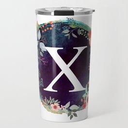 Personalized Monogram Initial Letter X Floral Wreath Artwork Travel Mug