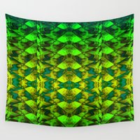 green pattern Wall Tapestries featuring Green pattern. by Assiyam