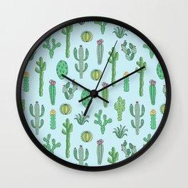 Cactus Pattern Light Blue Wall Clock