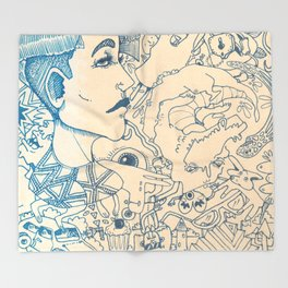Blue and White Ideas and doodles Throw Blanket