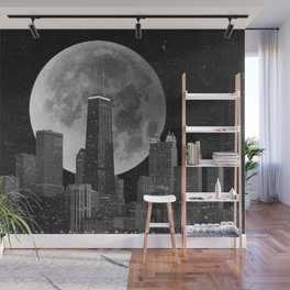 Full Moon Over Chicago Illinois Skyline Wall Mural