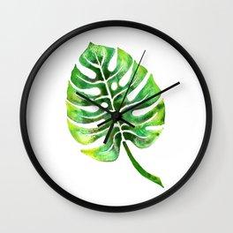Monstera Green Leaf Wall Clock