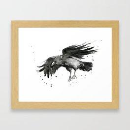 Raven Watercolor Framed Art Print
