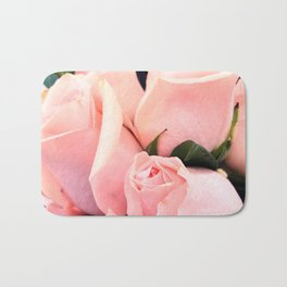 Glitzy Glam Pastel Pink Romantic Roses Bouquet Bath Mat
