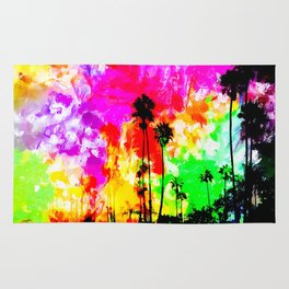 palm tree at the California beach with colorful painting abstract background Rug