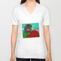 boxing V-neck T-shirts featuring Tiki Boxing by TEMOANA