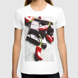 Dark chocolate with chili pepper over wooden background T-shirt