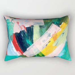 Livin' Easy - a bright abstract piece in blues, greens, yellow and red Rectangular Pillow