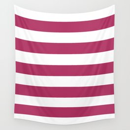 Rich maroon - solid color - white stripes pattern Wall Tapestry