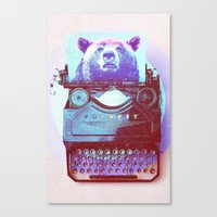 writer Canvas Prints featuring Grizzly writer by RedGoat