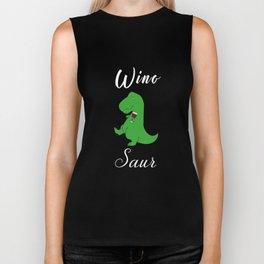 Winosaur Dinosaur Dino Wine Lover Biker Tank