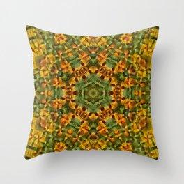 Daisies abstract mandala Throw Pillow
