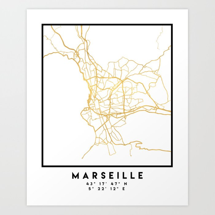 Marseille France City Street Map Art Art Print By Deificusart Society6