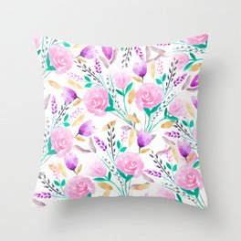 Modern pink turquoise watercolor floral spring summer pattern Throw Pillow