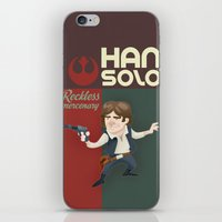 han solo iPhone & iPod Skins featuring Han Solo by Alex Santaló