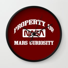 Property of NASA Mars Curiosity Rover Athletic Wear White ink Wall Clock