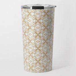 Damask (White & Tan Pattern) Travel Mug