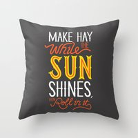 sunshine Throw Pillows featuring Sunshine by Wharton