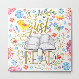 I Just Want To Read - White Floral Metal Print