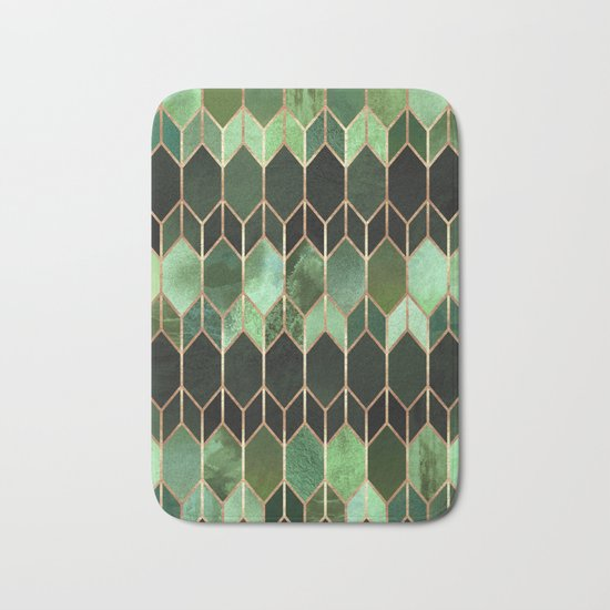 Stained Glass 5 - Forest Green Bath Mat