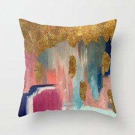 Gold Leaf & Indigo Blue Abstract Throw Pillow