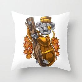 Steampunk Koala Throw Pillow