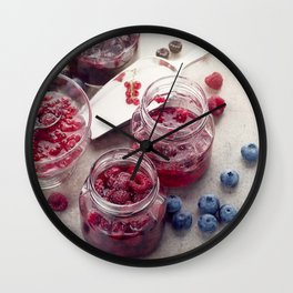 homemade raspberry, blueberry and red currant jam Wall Clock