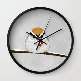 Chipping Sparrow on a Branch Wall Clock