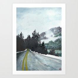 vancouver island // watercolor landscape canada snow mountain road roadtrip Art Print