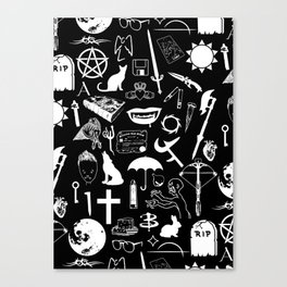 Buffy Symbology, White Canvas Print