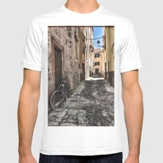 bicycle at the house door - ready to go White Mens Fitted Tee MEDIUM