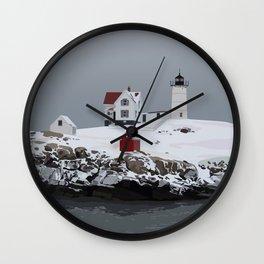 Nubble in Winter Wall Clock