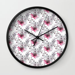 Watercolor neon pink gray hand painted floral pattern Wall Clock