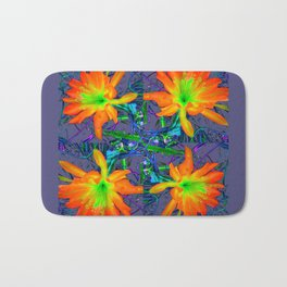 Puce Grey Tropical Red-Orange-Yellow Jungle Flowers Pattern Art Bath Mat