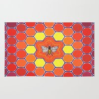 sacred geometry Area & Throw Rugs featuring Bee Sacred Geometry by Elspeth McLean
