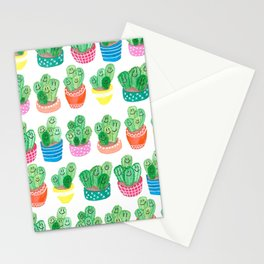 Cacti in fancy pots with smily faces. Stationery Cards