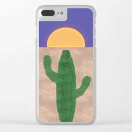 Cactus in the Desert Sunset Clear iPhone Case
