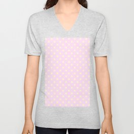 Cream Yellow on Pink Lace Stars Unisex V-Neck