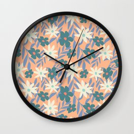 Just Peachy Floral Wall Clock