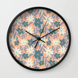 Just Peachy Floral Wall Clock