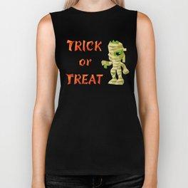 Halloween slogan with mummy Biker Tank